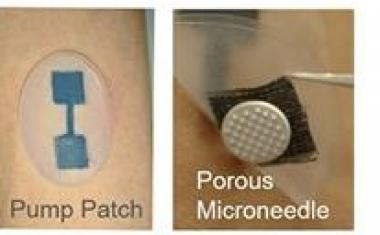 Microneedle patch delivers drugs and procures testing samples