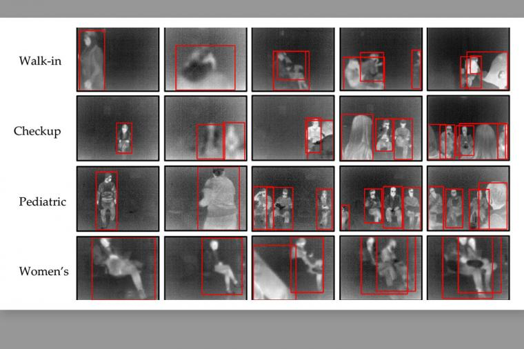 Thermal images from medical office areas as shown FluSense units.