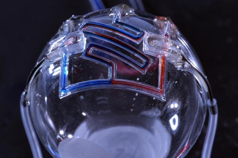 The researchers 3D printed microfluidic channels on a curved surface, providing...