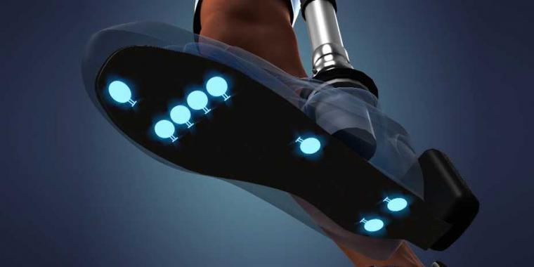 Signals from tactile sensors under the sole of the prosthetic foot and from...