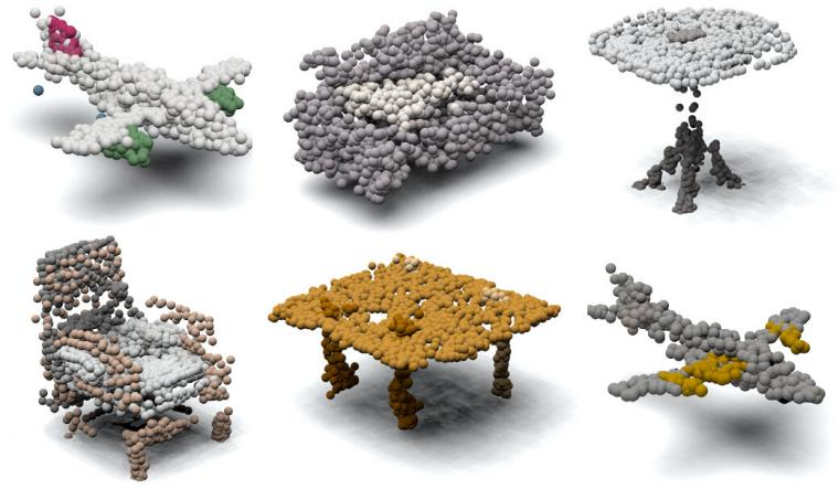 Examples of 3D point clouds synthesized by the progressive conditional...