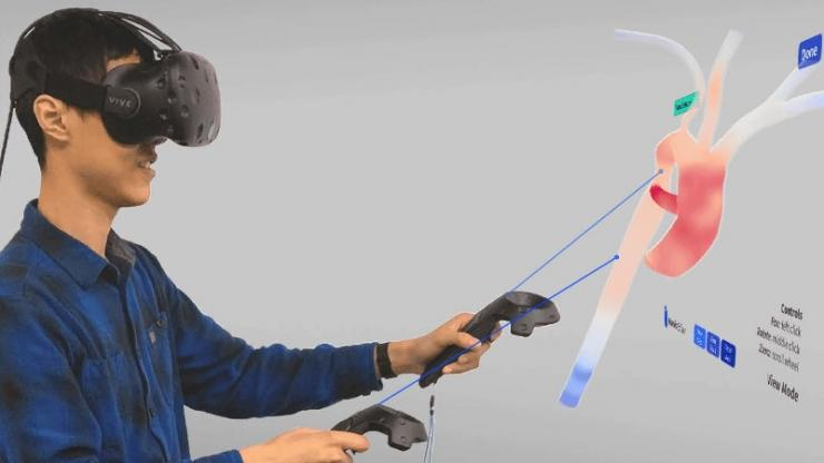 Research scientist Harvey Shi demonstrates a new virtual reality interface that...