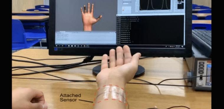 A deep learning e-skin decodes complex human motion