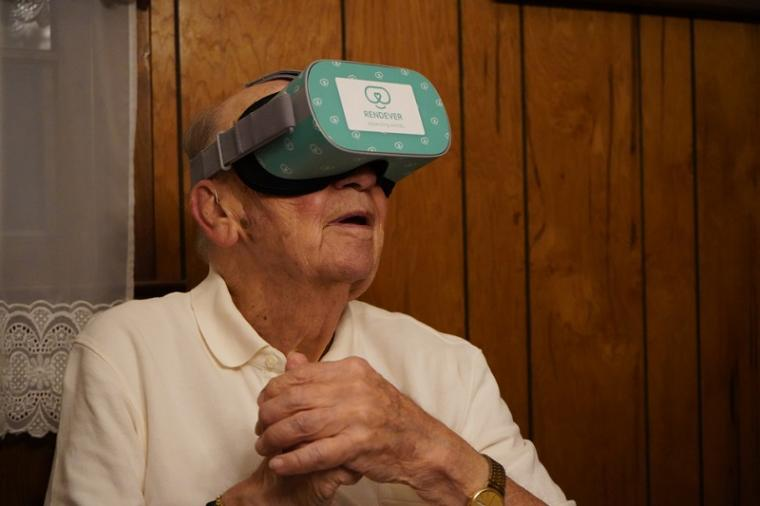 Rendever's virtual reality system offers users a variety of games and...