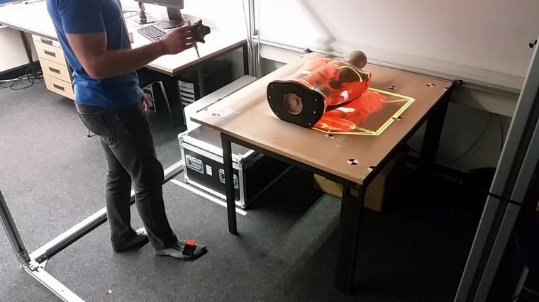 Projector-based AR in an AR test lab. The projected representation can be...