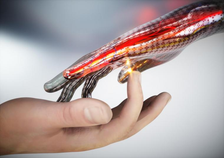A concept image of electronic skin that can sense touch, pain, and heat.